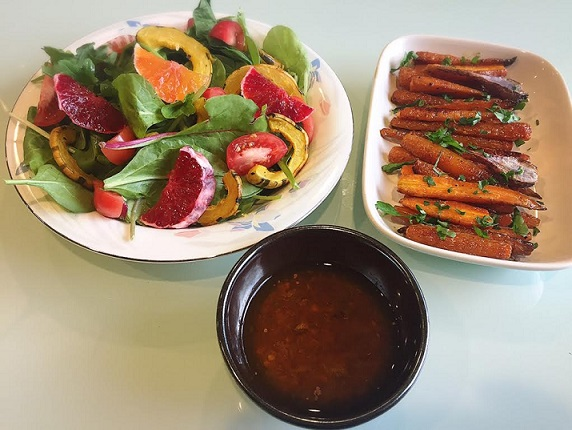 winter citrus + squash salad with roasted carrots