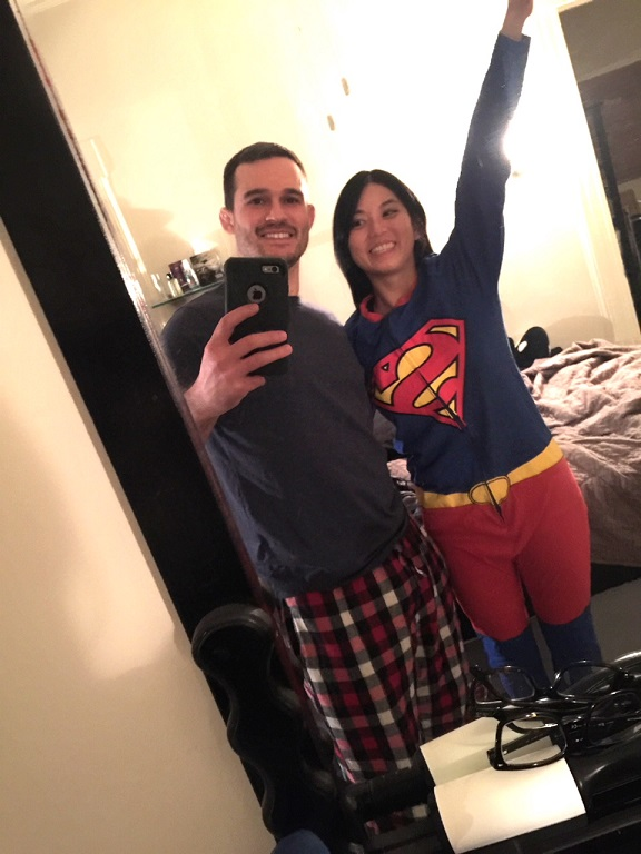 I promise we didn't go out like this. But is this onesie not amazing? (He couldn't find the one he had with a cape, but this will do. :[ )