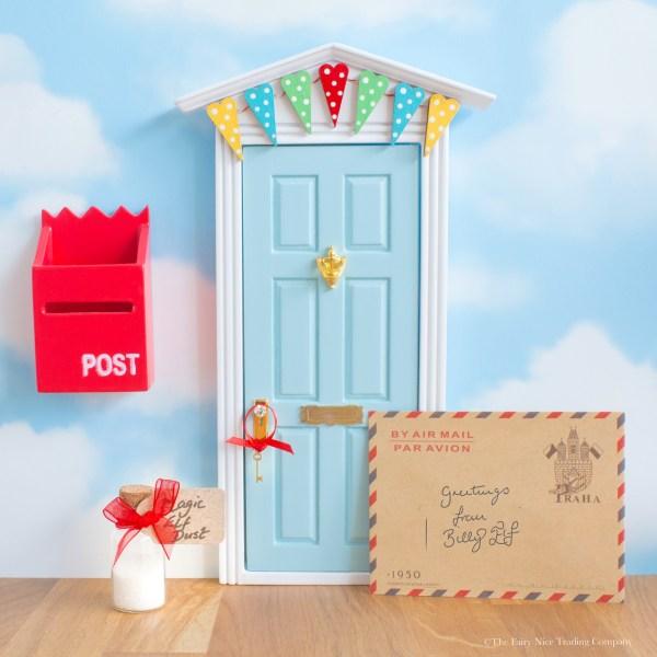 blue magic elf door with bunting, UK