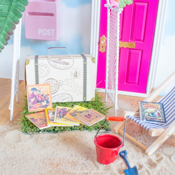 miniature suitcase and books for Fairy Doors UK
