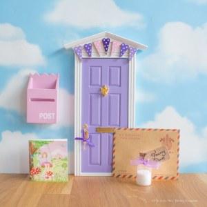 Purple Fairy Door with bunting, UK