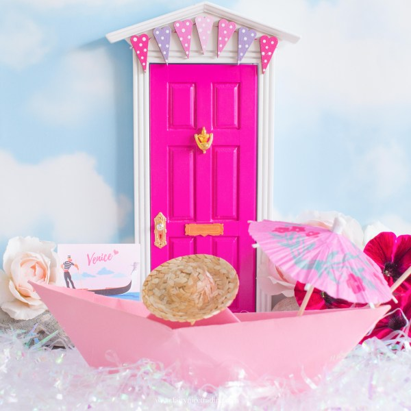 bright pink Fairy Door with bunting uk