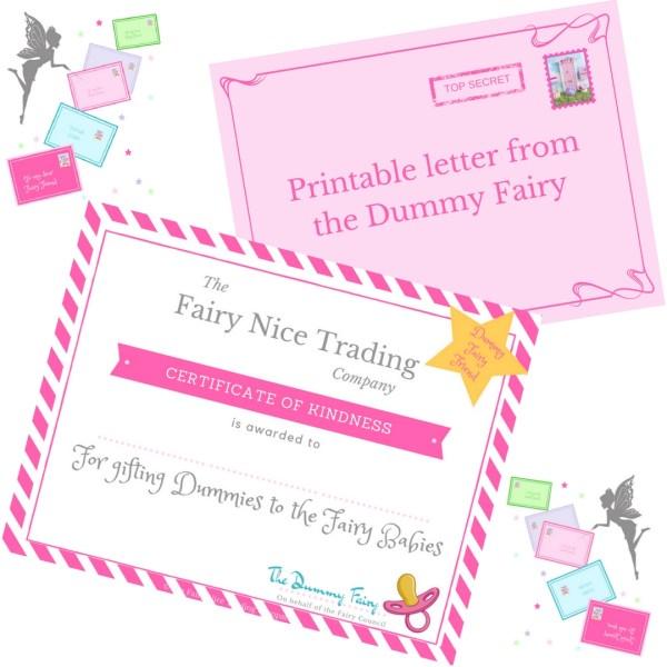printable dummy fairy letter & certificate