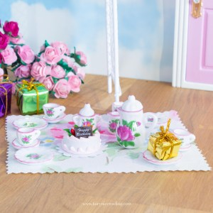 floral birthday fairy door accessory set uK
