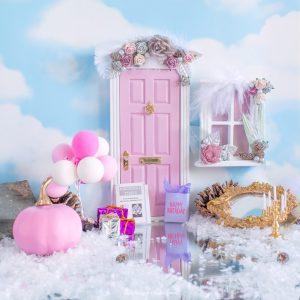 winter pink fairy door