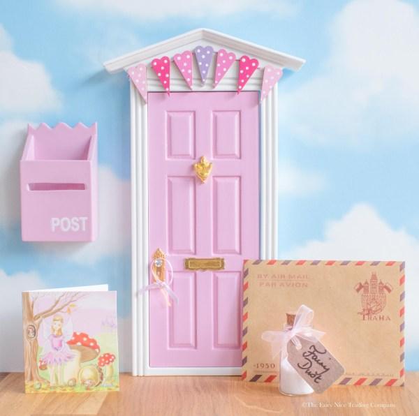 pink fairy door with bunting uk