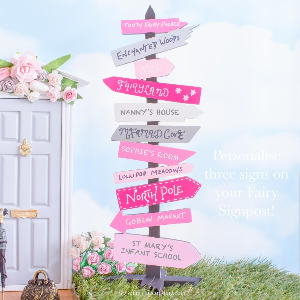 personalised fairy signpost pink and grey