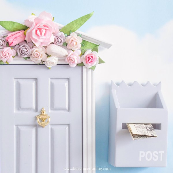 grey Fairy Door with flower wall uk