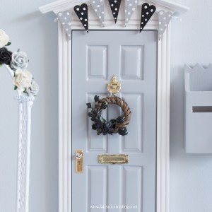 black flower wreath for fairy doors