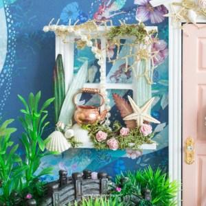 Mermaid fairy window for fairy doors