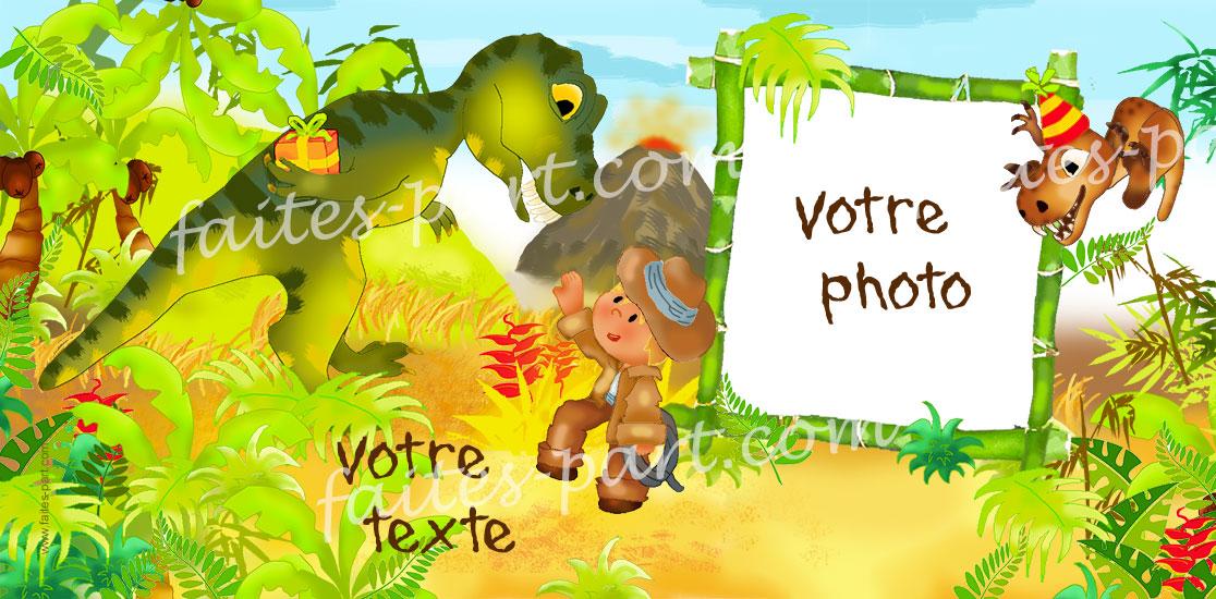 carte personnalisable dinosaures avec