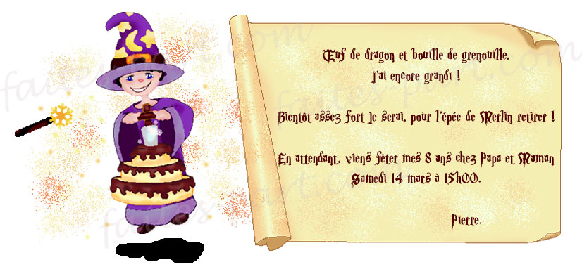 invitation anniversaire magicien a