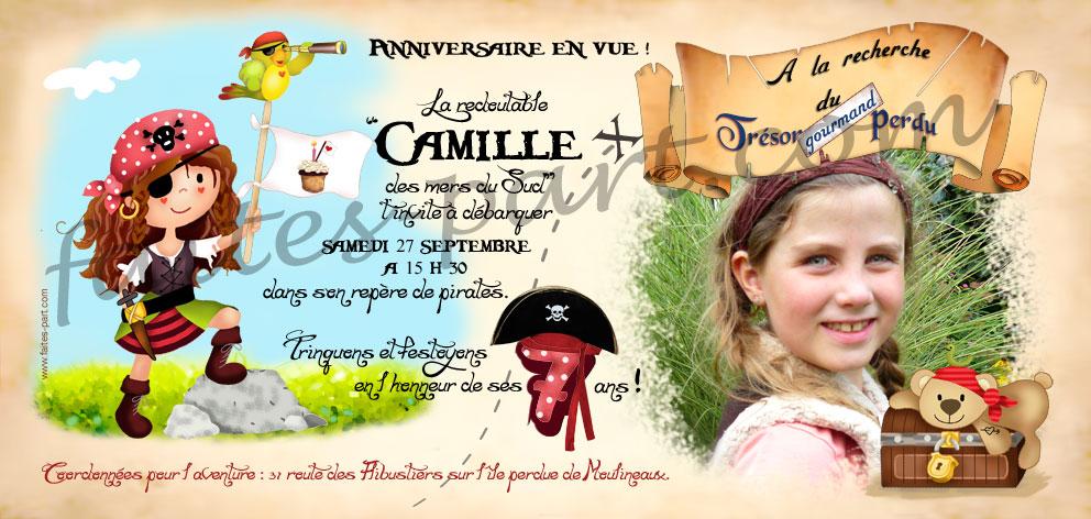 invitation anniversaire pirate fille