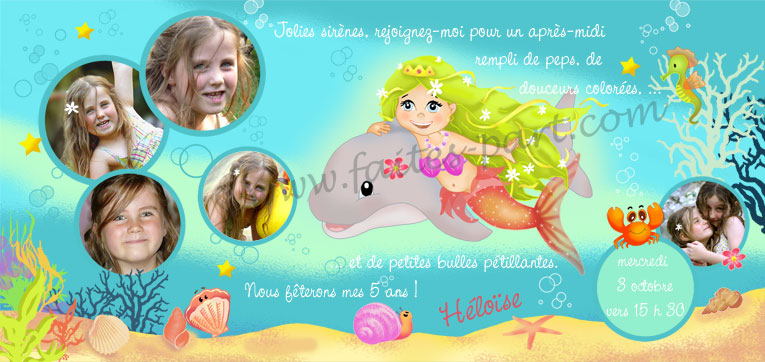 carte d anniversaire sirene mer et