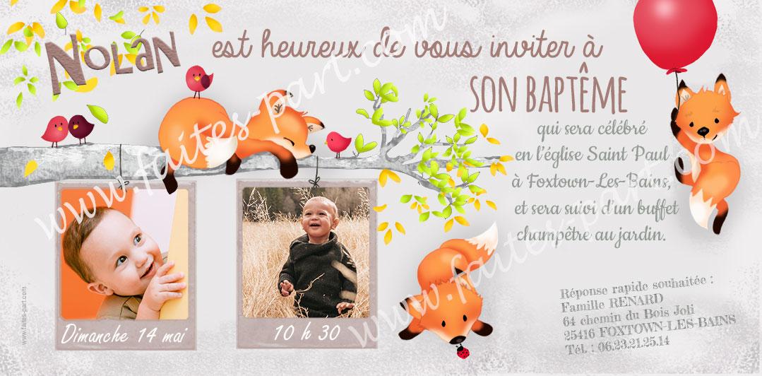 invitation pour bapteme renard