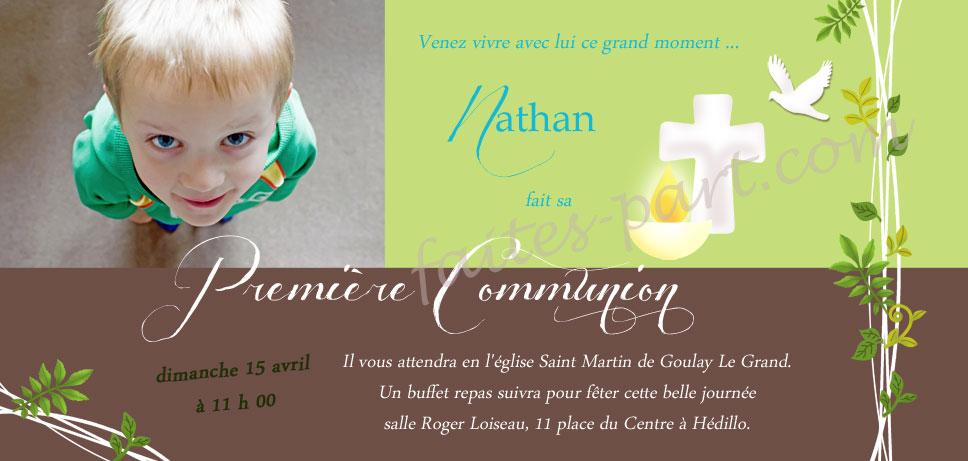 invitation personnalisee pour communion