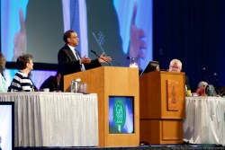 Rev. Dr. Allan Boesak, church leader and anti-apartheid activist from the Uniting Reformed Church in S. Africa, addresses the assembly upon approval of the Belhar Confession for inclusion in the PC(USA) Book of Confession.