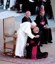 Monsignor Giusanni being greeted by his friend Pope John Paul II at St. Peters.
