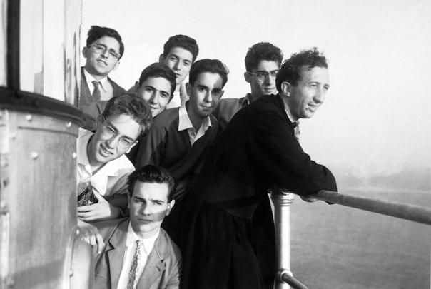 Don Giusanni with his boys on a Mediterranean excursion off Portofino.