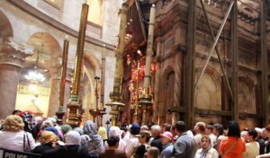 The venerable Shrine of the Holy Sepulcher stands above the place described by tradition as the tomb of Jesus.