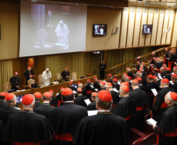 The opening session of the 2014 Extraordinary Synod in Rome. Bishops from around the world, a s well as religious and lay leaders, are shown gathered around  Pope Francis.