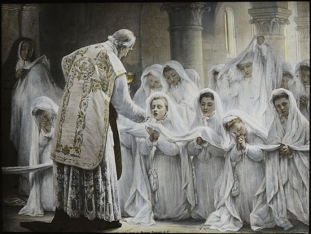 In past centuries, First Communion was regarded as a highly personal experience in which the sacredness of the consecrated bread was paramount. In this French painting, the girls cover their hands in linen cloth as a precaution against touching the host.