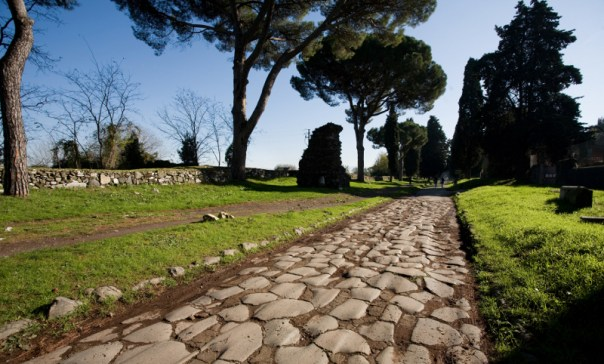 A view of the ancient Via Appia outside of Rome