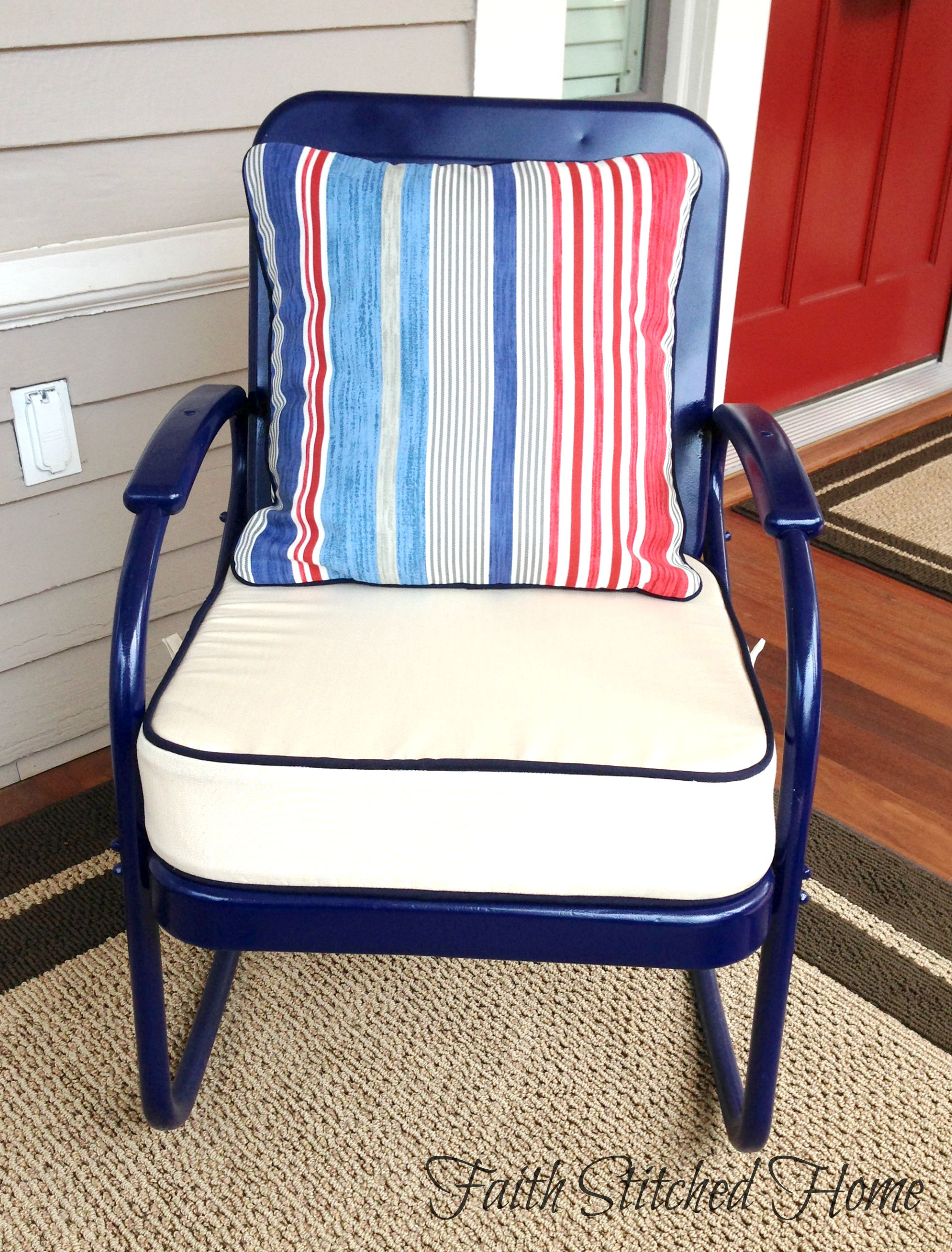 metal kitchen chair cushions best baby height chairs upholstered for a vintage porch set faith