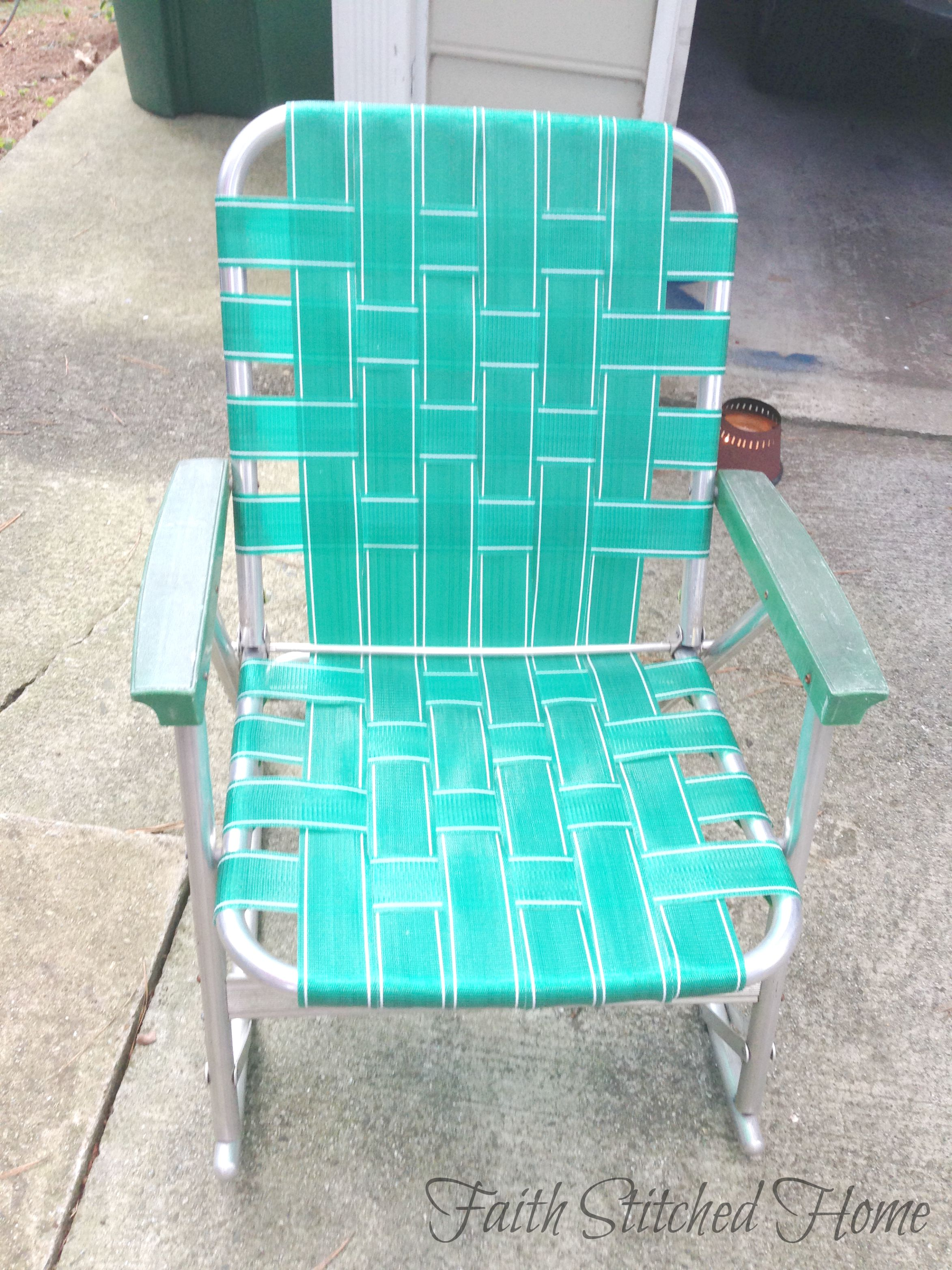Repairing a Vintage Webbed Lawn Chair  Faith Stitched Home
