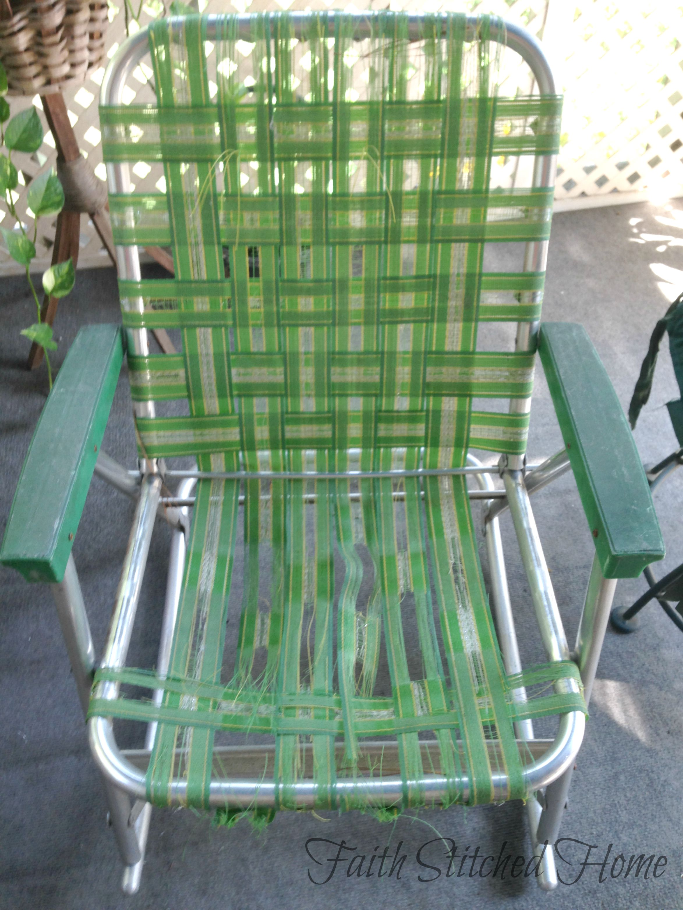 repair chair seat webbing mickey mouse table and chairs canada repairing a vintage webbed lawn faith stitched home