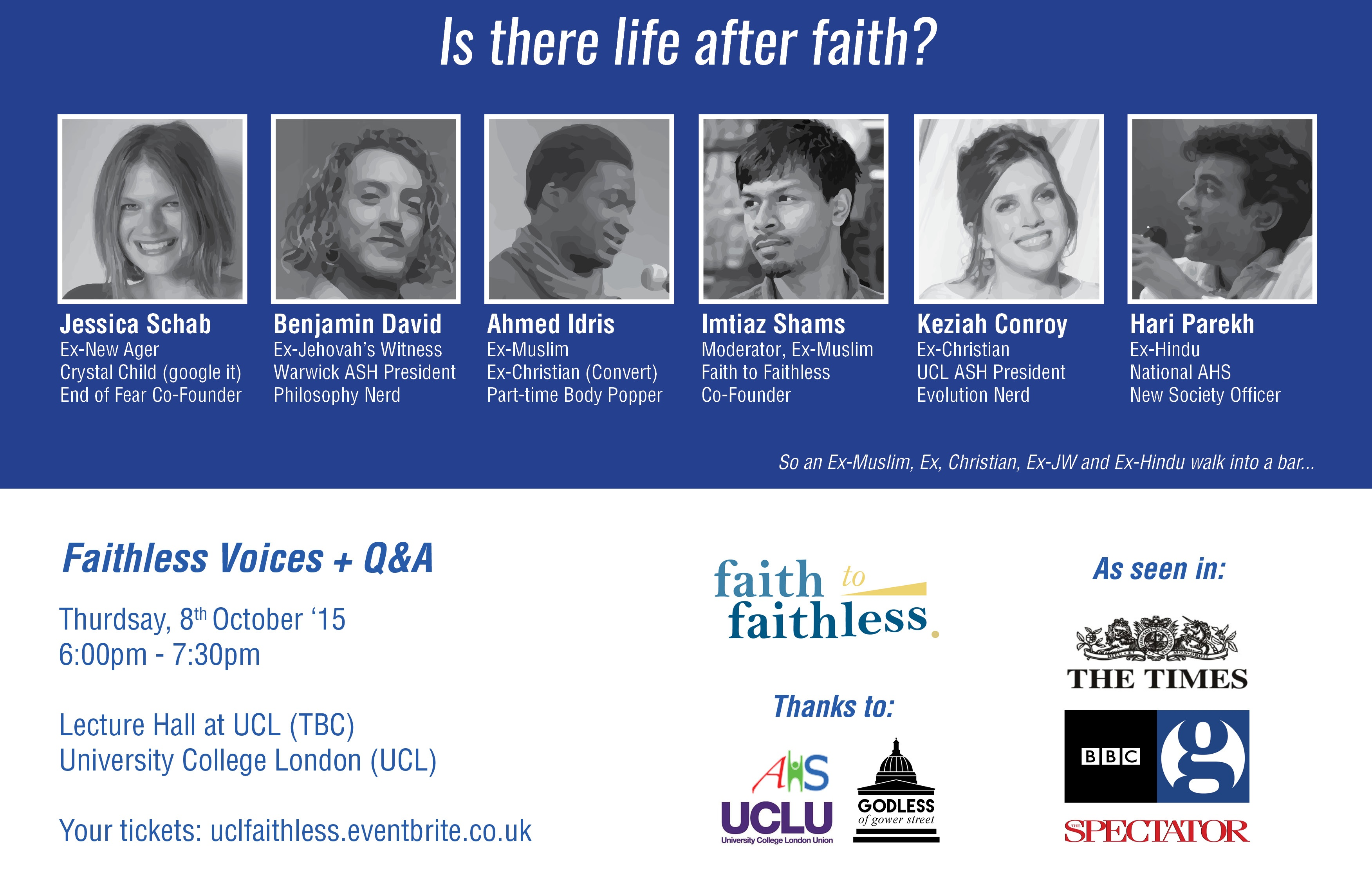 8 Oct '15 UCL: Faithless Voices: Featuring Ex Hindus, Jehovah's