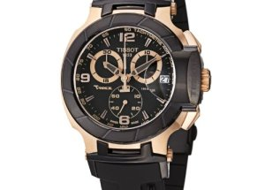 Jam Tangan Lelaki Pilihan | Tissot Men's T-Sport Rose – Gold PVD Black Rubber Strap Watch