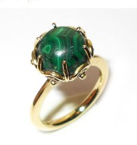 Handmade Ring, Malachite Ring, Gold Vermeil Ring,