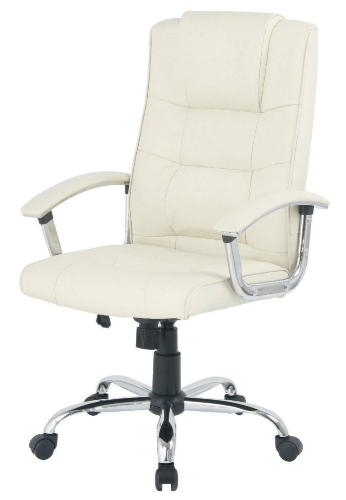 white desk chair no wheels uk swing near me niceday berlin executive leather faced cream