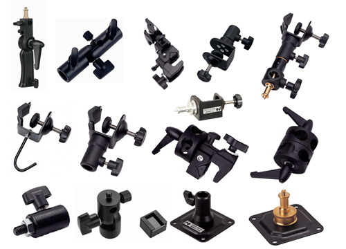Various brackets, mounting plates and clamps