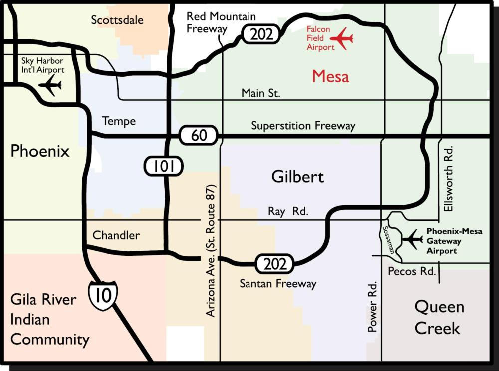 medium resolution of to access the terminal enter falcon drive from the north side of mckellips road approximately midway between greenfield and higley roads