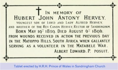 Hubert Hervey, plaque in Sandringham Church