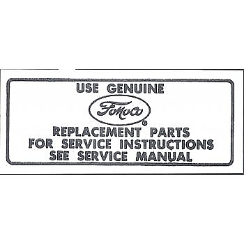 1965-1967 AIR CLEANER SERVICE INSTRUCTION DECALS
