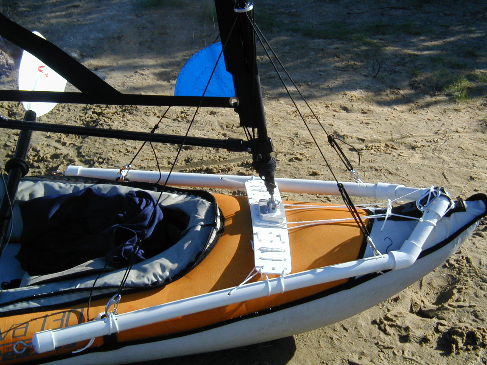 hight resolution of  kayak sail on a inflateable kayak