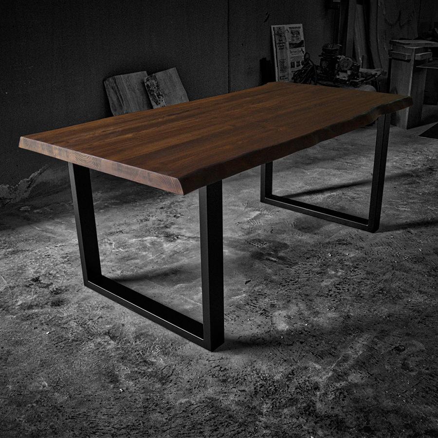 Tavolo legno massello design rustico gambe in ferro in