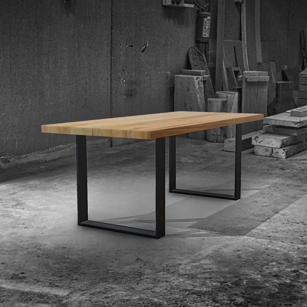 tavolo in legno massello e gambe in vetro. Glorious Tavolo In Legno Massello Di Castagno E Gambe In Ferro Falegnameria900 Mobili In Legno Su Misura