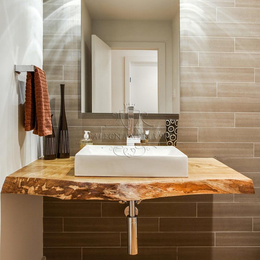 Mensola mobile bagno in legno massello con bordo rustico