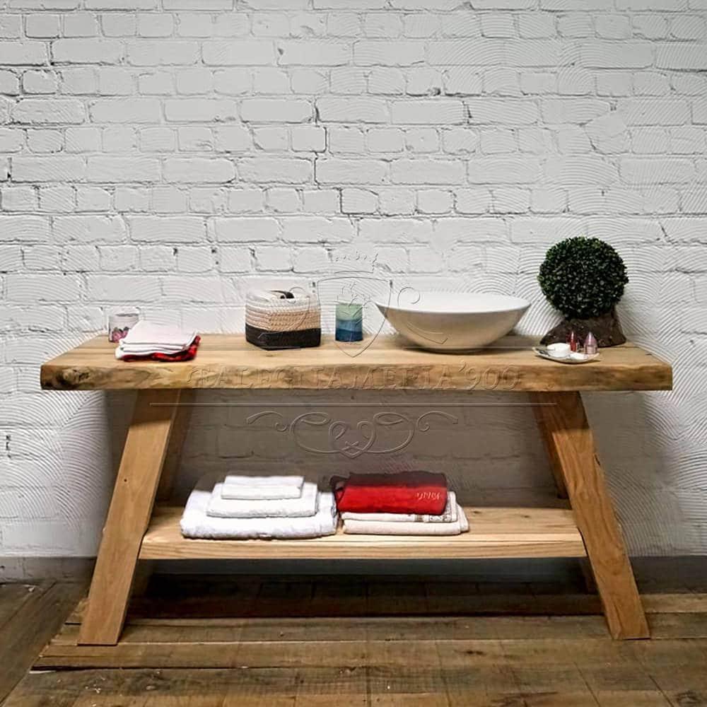 Mobile bagno piano lavabo con doppio ripiano chiaro  Eva