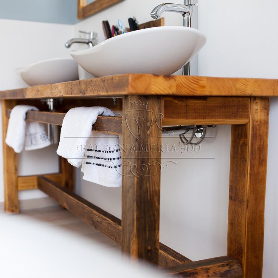 Mobile bagno in legno massello per doppio lavabo  Donatella  Falegnameria900