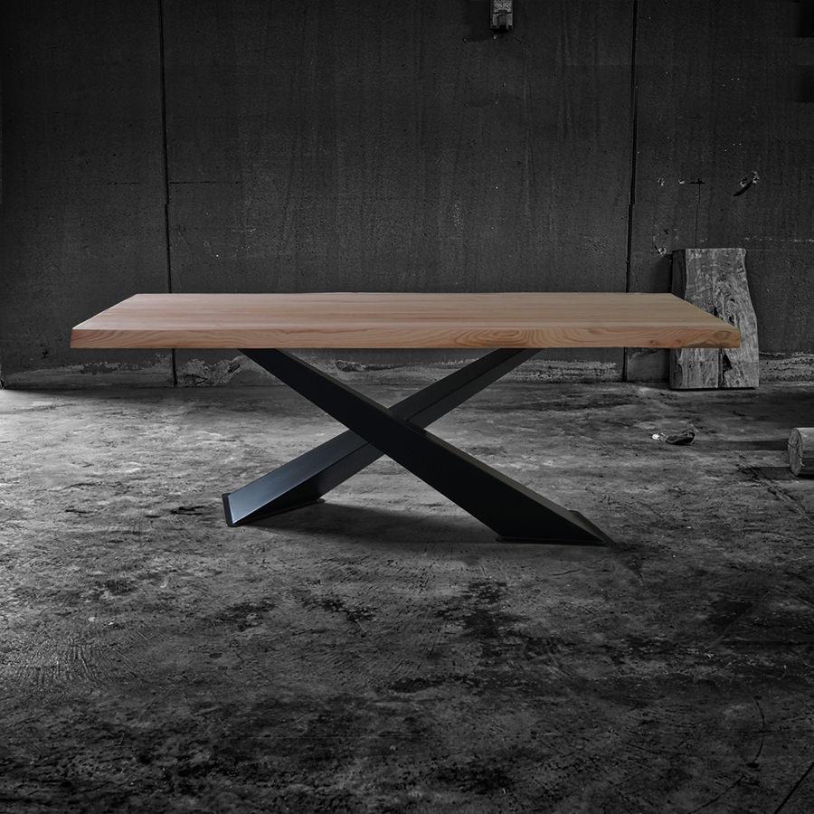 X Design Chiaro Tavolo in legno massello di castagno e