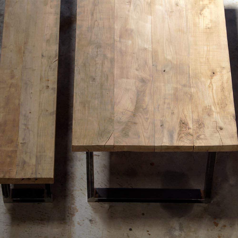 Impero Rustico Tavolo in legno massello e gambe in ferro  Falegnameria900