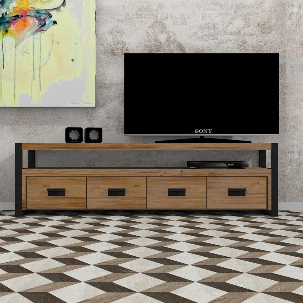 Mobile porta TV in legno massello di castagno naturale In