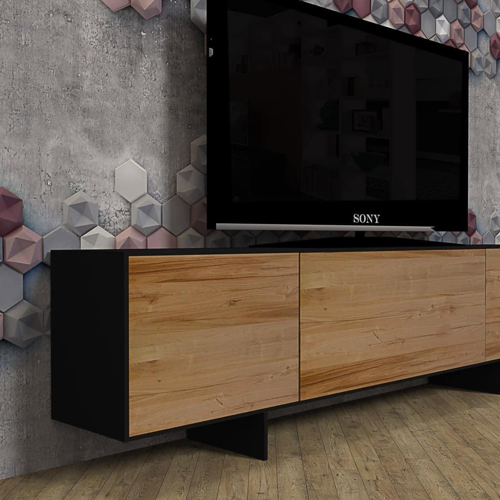 Mobile porta TV di design in legno massello di castagno e