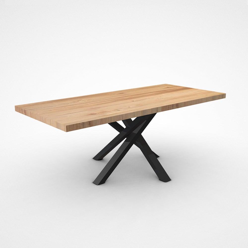Tavolo Design in legno massello di castagno gamba centrale