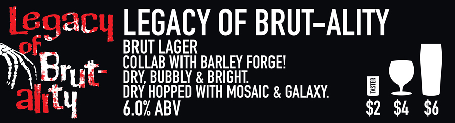 Tasting Room Sign of Legacy of Brutality Beer
